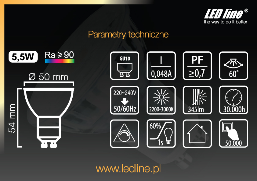 żarówki LED GU10 led line