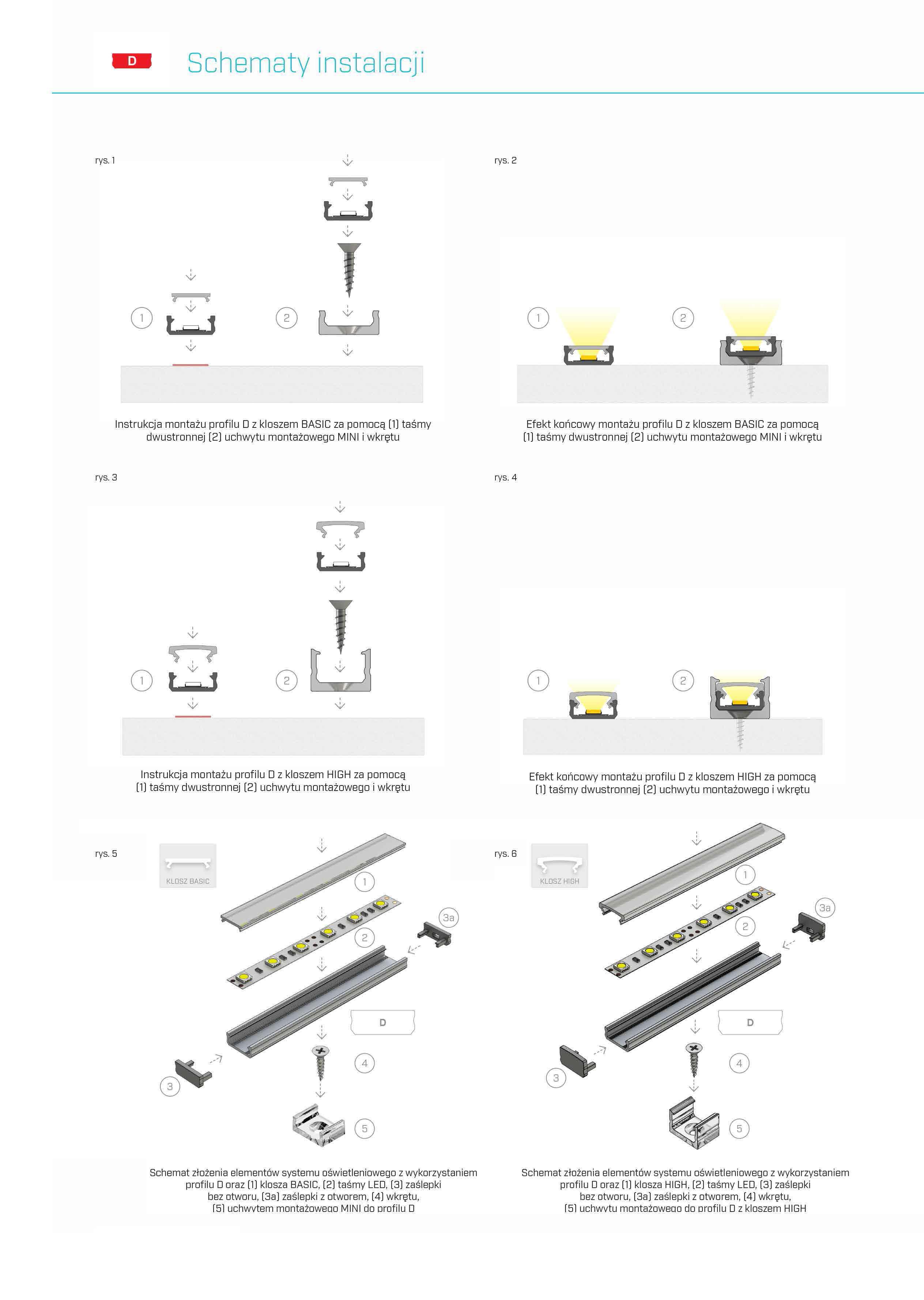 montaż profili D lumines