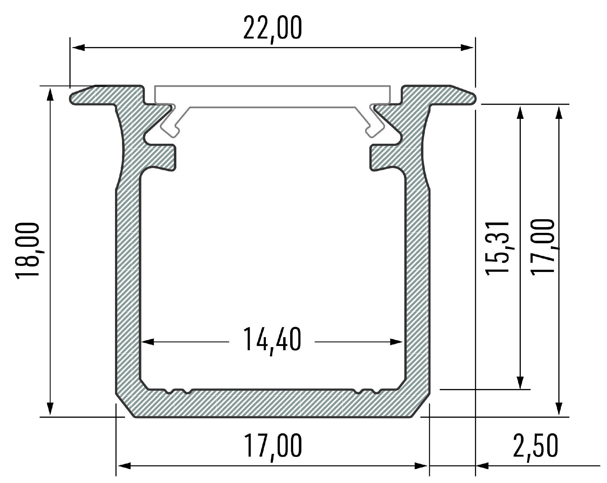 Profil LED głęboki wpuszczany typ G