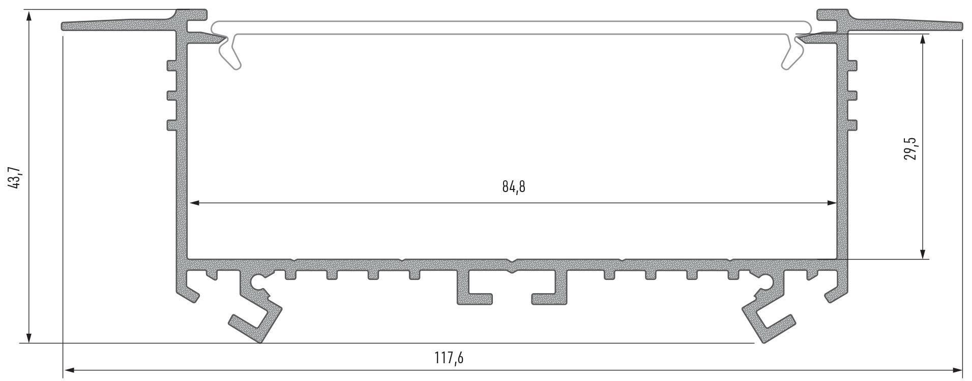 Profil LED szeroki wpuszczany Sorga