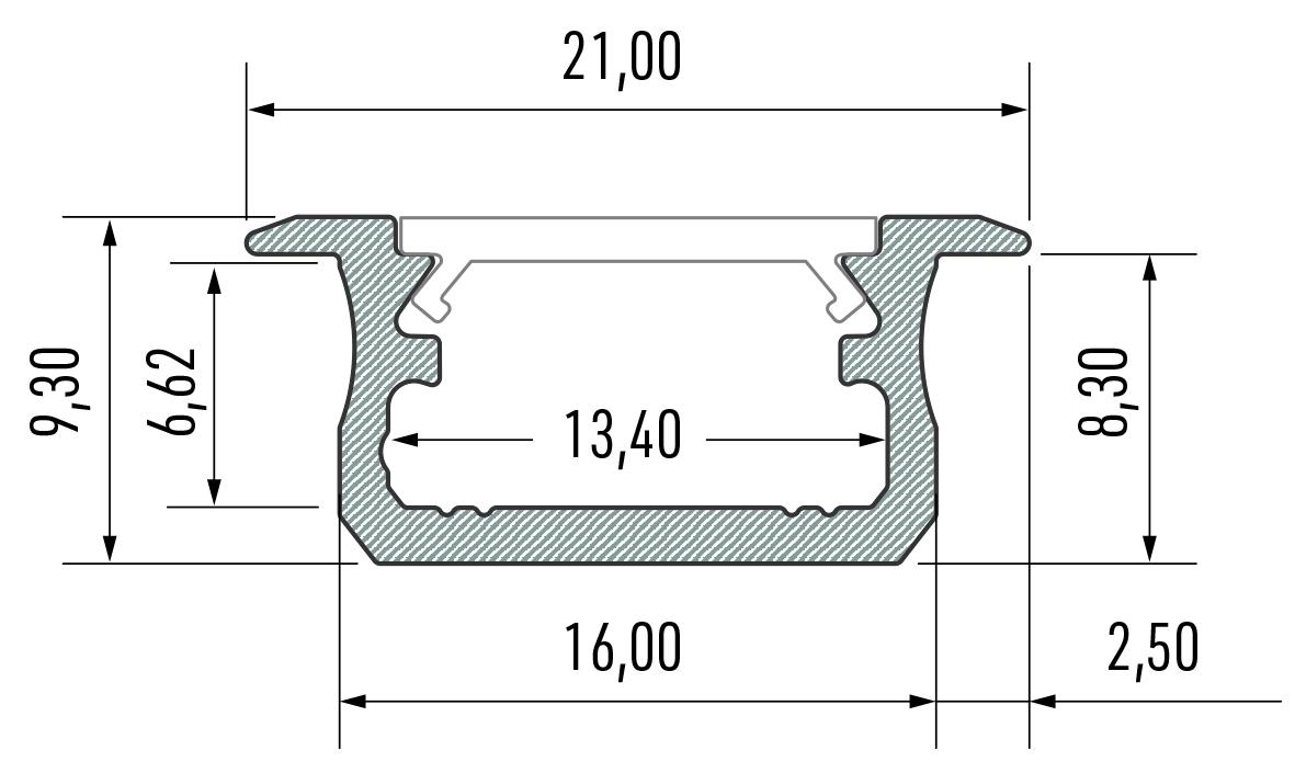 Profil LED wpuszczany typ B