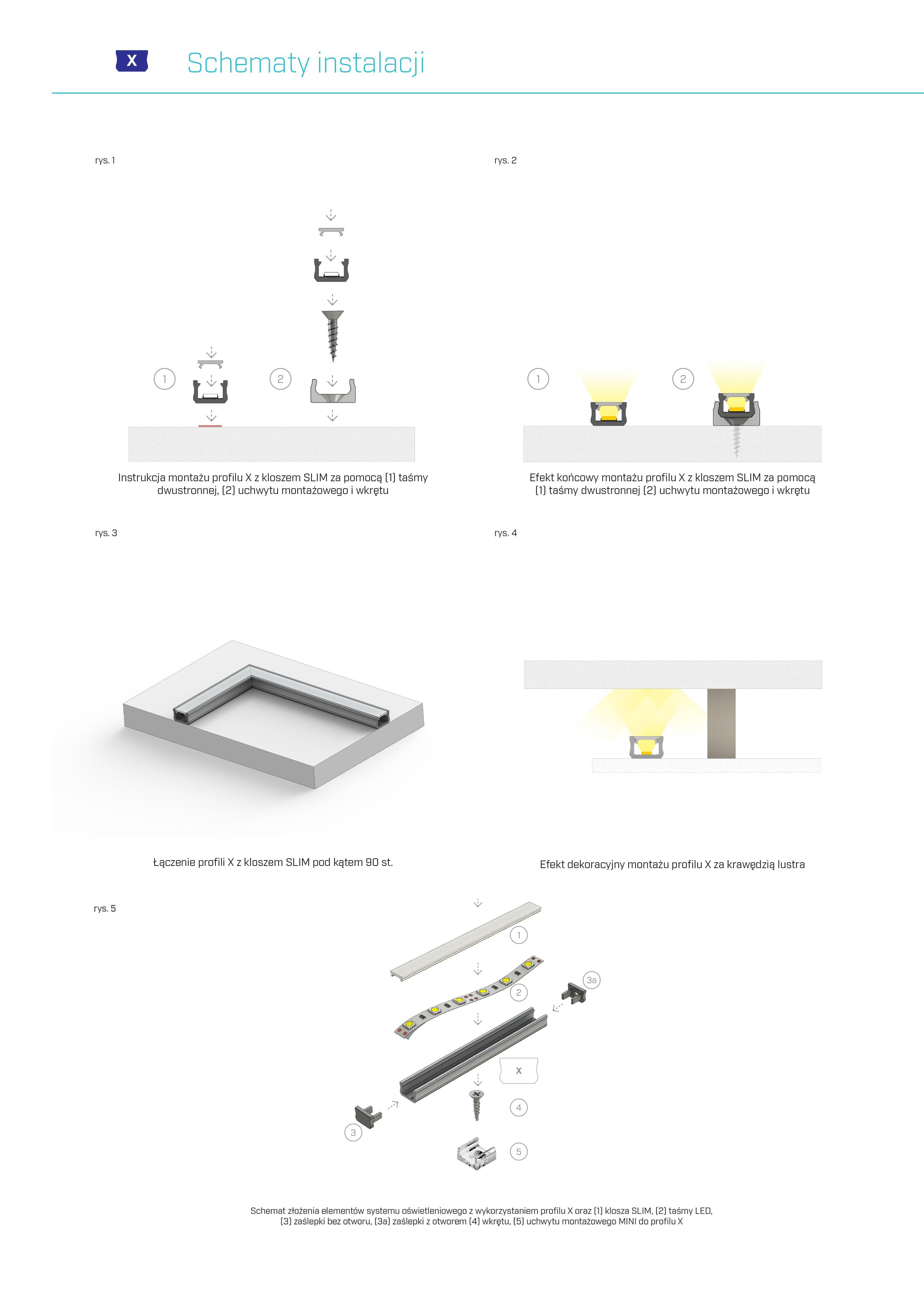 montaż profilu X arki Lumines
